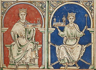 Alan of Galloway - Mid-thirteenth-century depiction of English kings John and Henry III, in Matthew Paris' Historia Anglorum.