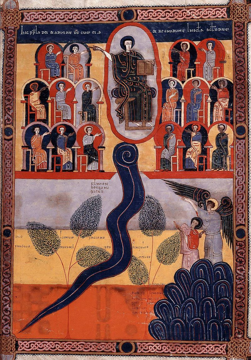 The New Jerusalem and the River of Life (Apocalypse XII), Beatus de Facundus, 1047 dans immagini sacre 800px-B_Facundus_254
