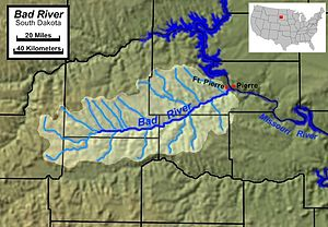 Bad River (South Dakota) - Course and watershed of the Bad River