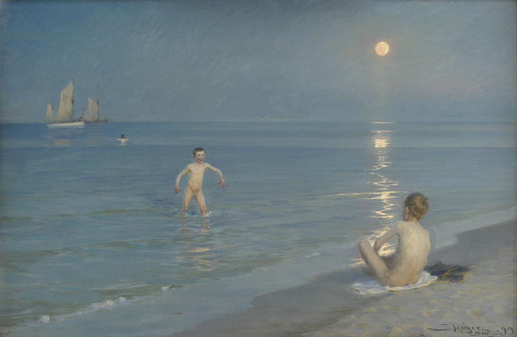 Badende drenge en sommeraften ved Skagens strand (1899 painting).jpg