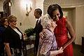 Barack and Michelle Obama greet the family of Specialist Leslie H. Sabo, Jr., 2012.jpg