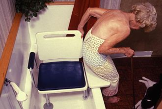 Frailty syndrome - Muscle weakness makes it difficult to perform everyday activities, like getting into a bathtub.