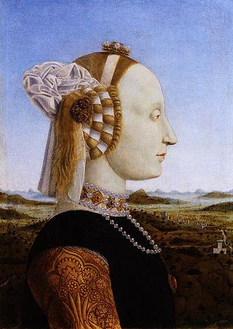Federico da Montefeltro - Battista Sforza, Duchess of Urbino. Portrait by Piero della Francesca