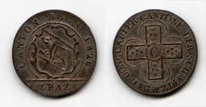 Restoration and Regeneration in Switzerland - Konkordatsbatzen (with the Swiss cross on the reverse) minted in Berne (1826)