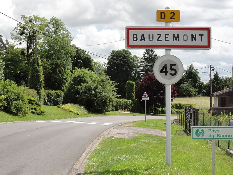 Bauzemont (M-et-M) city limit sign