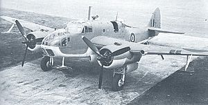 Bristol Beaufort - A new late-production Beaufort Mk.II at the Filton factory. ASV yagi aerials are under the nose and wings and the new DF loop is fitted. Muzzles of additional Vickers GO are visible in the front upper nose.