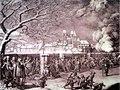 Belagerung von Rapperswil 1656 - Ostansicht von Rapperswil aus der Perspektive der Zürcher Truppen, links unten General Hans Rudolf Werdmüller, 1855, Zeichnung von Johann Jakob Oeri - Stadtmuseum Rapperswil 2013-01-05 16-26-54.JPG