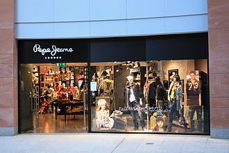 Designer clothing - Facade of the Pepe Jeans boutique in Belfast, Northern Ireland. 2009.