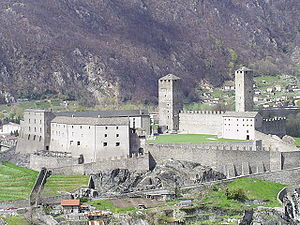 Castles of Bellinzona - Castelgrande showing the walls and towers of the extensive castle