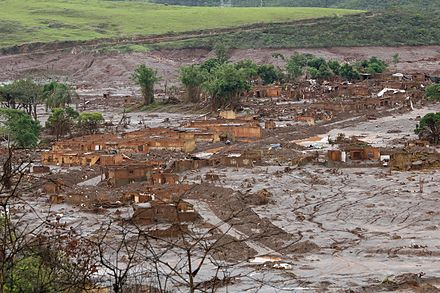 A village flooded in the Bento Rodrigues dam disaster (2015). The dam was a property of Samarco, a joint venture between Vale and BHP Billiton.