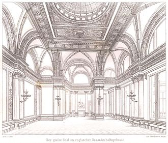 Palais Strousberg - Design drawing of the great hall of the British embassy by August Orth