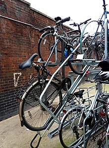 Double-decker bike rack at London Waterloo station England & Bicycle parking rack - Wikipedia