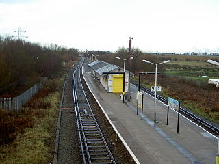 Railway station on the West Kirby branch of the Wirral Line, England, and a terminal for the Borderlands Line