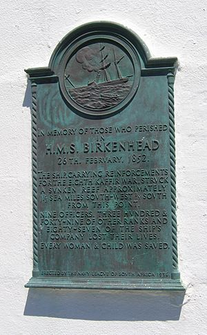 Danger Point Lighthouse - Plaque commemorating the sinking of the Birkenhead, affixed to the Danger Point lighthouse.