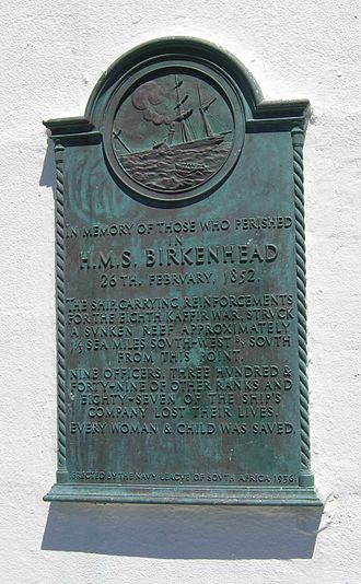 Gansbaai - Plaque commemorating the sinking of the Birkenhead, affixed to the Danger Point lighthouse.