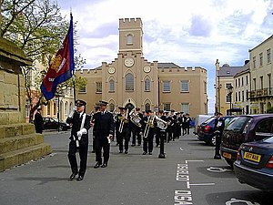 Castletown, Isle of Man - Birmingham Citadel Band. Old St Mary's Church (background)