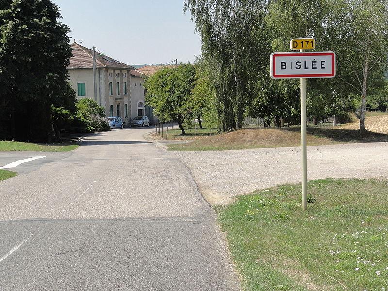Bislée (Meuse) city limit sign