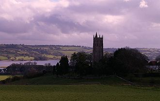Blagdon - Church tower with the lake behind