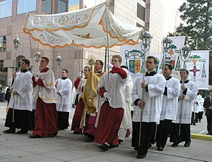 Blessed Sacrament - The Blessed Sacrament is displayed in a procession at the Diocese of Charlotte Eucharistic Congress in 2005. It is normally reserved in the tabernacle.