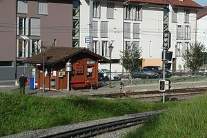 Blonay - Station of the Blonay–Chamby Museum Railway with the Blonay–Chamby Museum in the background