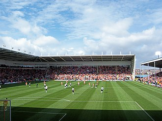 Blackpool F.C. - Bloomfield Road, looking north, as visitors Fulham