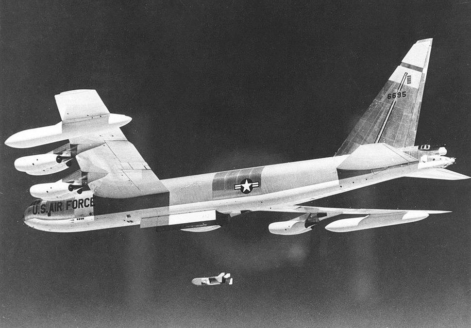 Boeing B-52D-40-BW (SN 56-0695) in flight launching Quail decoy 061127-F-1234S-011