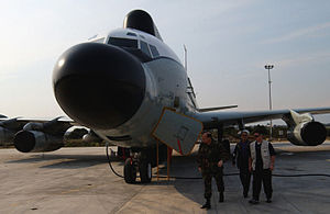 """Boeing NC-135 - A USAF NKC-135 """"Big Crow"""" with oversized nose at a forward deployed operating base"""