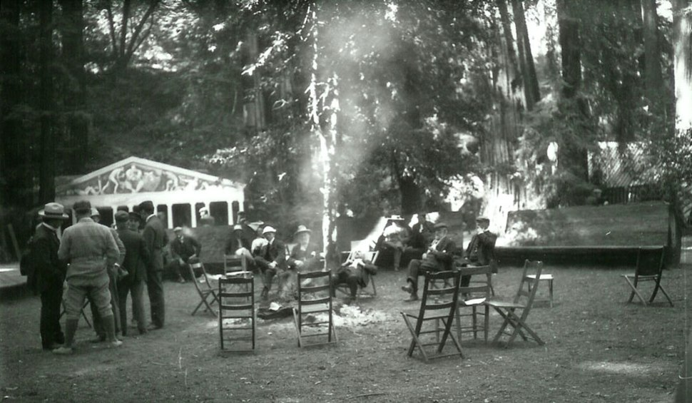 Bohemian Grove during the summer Hi-Jinks, circa 1911-16.