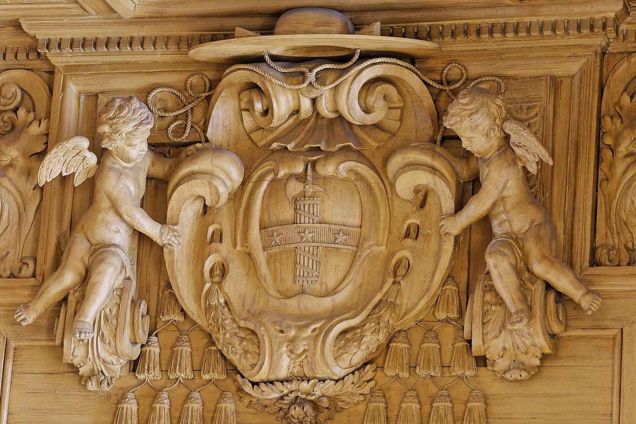 Boiserie sculptee aux armes de Mazarin Bibliotheque Mazarine Paris.jpg