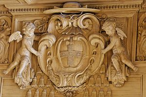 Bibliothèque Mazarine - Carved coat of arms of Cardinal Mazarin on a bookcase