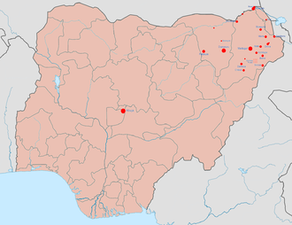 Boko Haram insurgency - Image: Boko Haram insurgency map