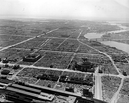 This postwar photograph shows the district of Sumida, Tokyo being virtually flattened. Bomb damage in Tokyo.jpg
