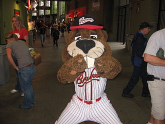 Mascot - Boomer Beaver, mascot of the American Minor League Baseball team the Portland Beavers, pointing at the camera.