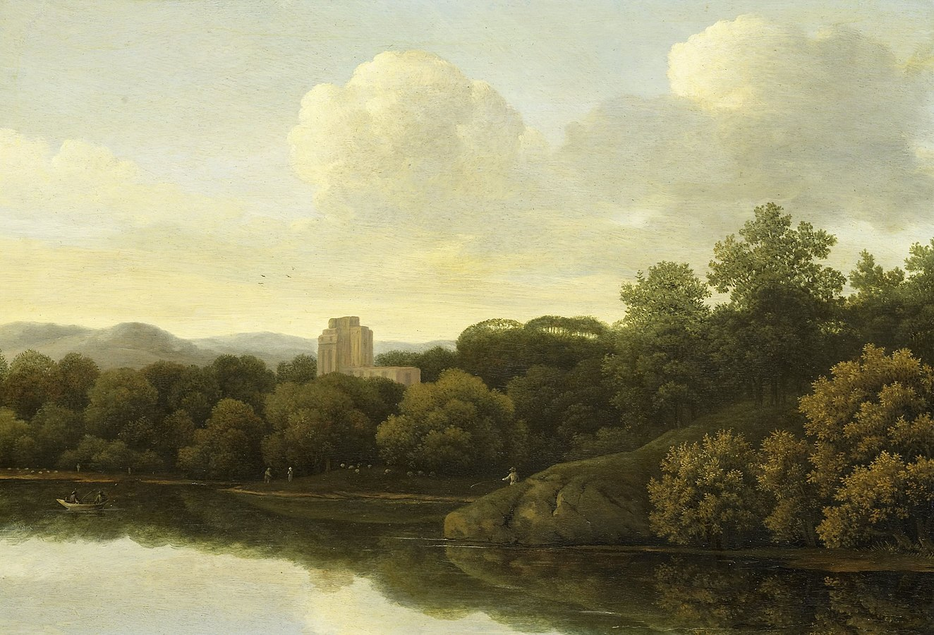 Wooded landscape with a river
