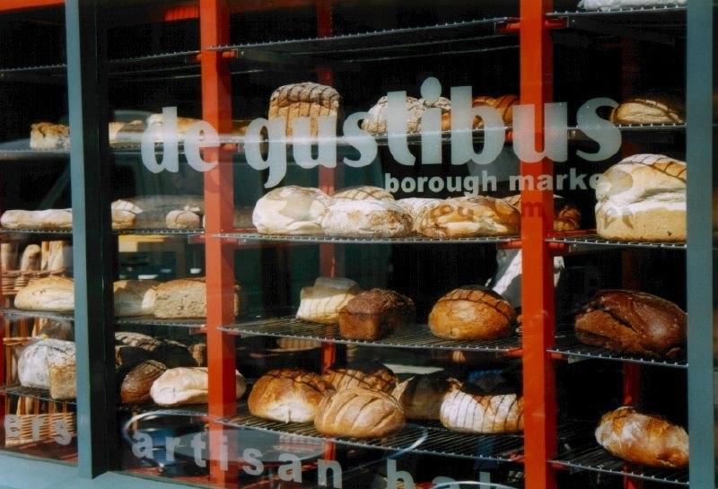 Bread in shop window at Borough Market