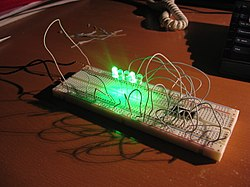 breadboard wikipedia, the free encyclopedialogical 4 bits adder where sums are linked to leds on a typical breadboard