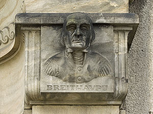 August Breithaupt - Relief portrait on the Werner building in Freiberg