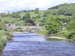 Sawley, Lancashire - Image: Bridge spanning R. Ribble at Sawley geograph.org.uk 1382134
