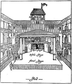 Fortune Playhouse - Reconstruction of the theatre, drawn by Walter Godfrey in 1911 based on the builder's contract