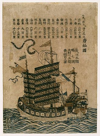 Imperial Chinese Tributary System - A Chinese merchant ship (Tosen Zu).