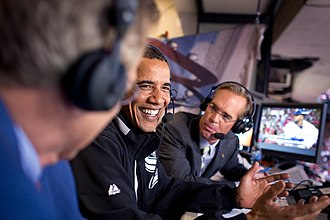 2009 Major League Baseball All-Star Game - Joe Buck (right) with President Barack Obama (center) and Tim McCarver (left) during the 2009 MLB All-Star Game.