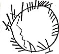 Buckquoy Spindle Whorl, Ogham inscription - Buckquoy-Spinnwirtel, Ogham-Inschrift.jpg