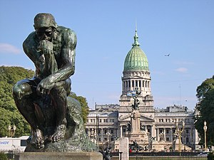 Balvanera - The Argentine Congress and Auguste Rodin's Thinker, one of the few surviving originals the sculptor made.