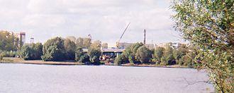 Mulyanka River - Building of bridge (close-up)