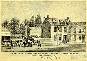 Bull's Head Tavern - An illustration of the above painting of the Bull's Head Tavern