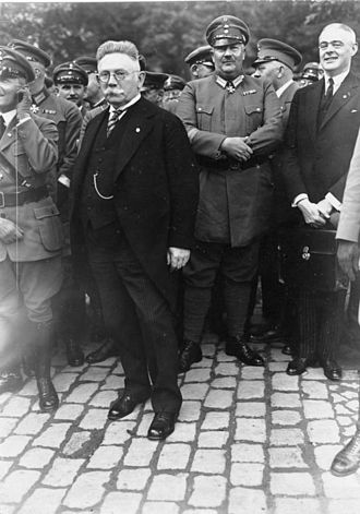 Abdication of Wilhelm II - Harzburg Front: DNVP - NSDAP coalition. Alfred Hugenberg with Prince Eitel Friedrich. 10 October 1931. See, Gleichschaltung NSDAP-DNVP coalition.