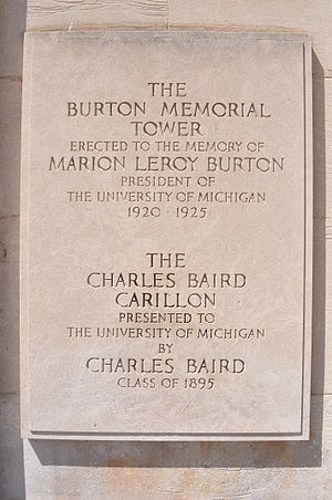 Burton Memorial Tower - Image: Burton Tower Plaque
