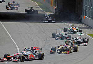 2012 Canadian Grand Prix - Jenson Button leading a train of cars in the opening stages of the race - he eventually finished sixteenth.