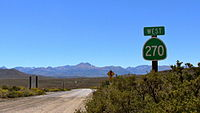 CA State Route 270 signpost, Bodie, CA, 26 August, 2012.JPG