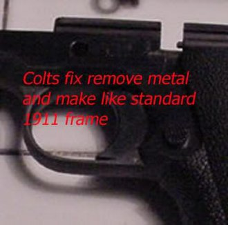 Colt Delta Elite - Metal removed to allow the frame to flex.